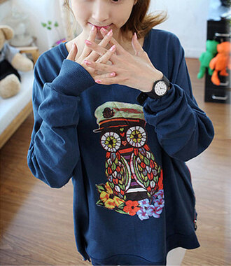 sweater clothes owl captain blue shirt coulorful warm sweater cute sweaters