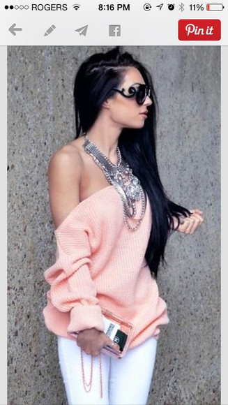 sweater girly off the shoulder sweater off the shoulder top pastel pink
