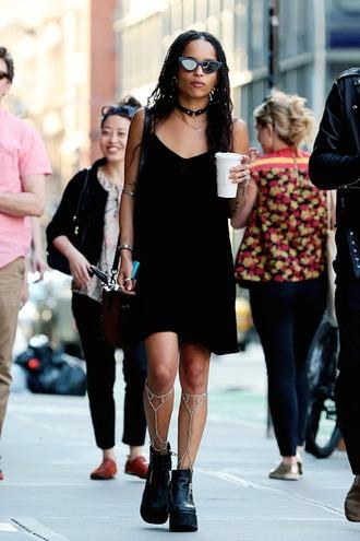 dress black dress grunge zoe kravitz platform shoes
