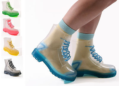NEW LADIES WOMENS JELLIES JELLY FESTIVAL CLEAR DOC ANKLE BOOTS SHOES SIZE 3-8   eBay