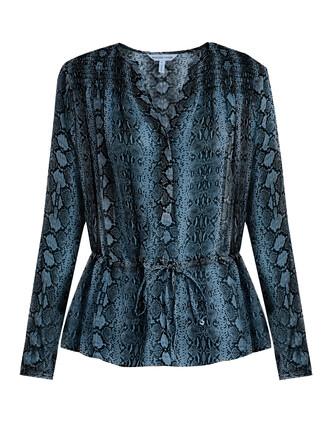 blouse snake drawstring print silk blue top