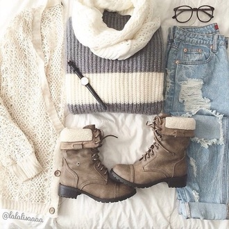 cardigan jeans scarf shoes sweater blouse pants boots grunge girl sunglasses dress winter outfits tumblr cute tumblr outfit t-shirt shirt leather boots fur boots hipster lace up boots girly girly boots hipster shoes hipster boots cute boots really cute boots ripped jeans