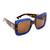 Gucci Square Urban Web Block Sunglasses - Glitter Blue/Brown