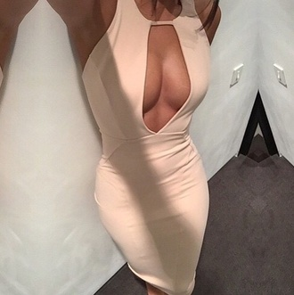 dress nude beige cut-out key hole bodycon tight sexy clubwear v neck plunge neckline cut-out dress nude dress