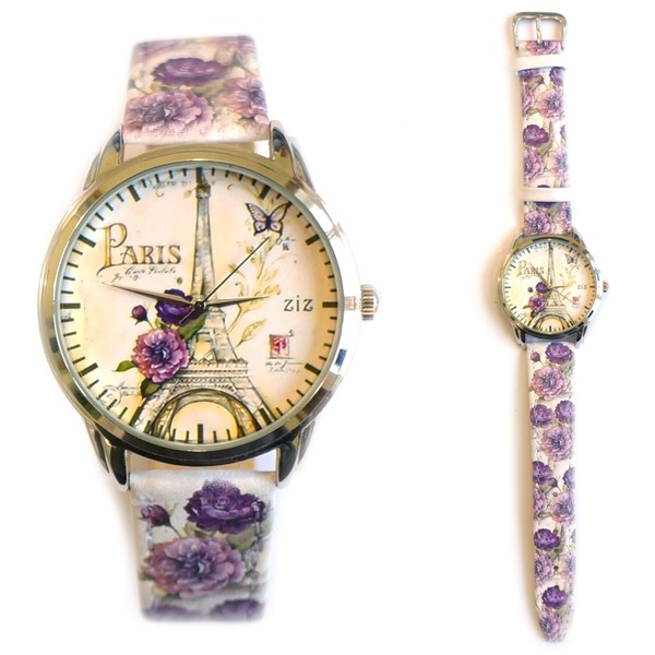 jewels designer watch paris paris watch leather watch beautiful watch romantic watch flowers purple ziziztime ziz watch eiffel tower