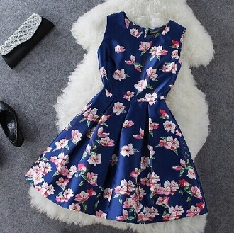 dress blue dress amazing lovely flowers pink flowers lovely dress floral dress pink dress pink flowers bright