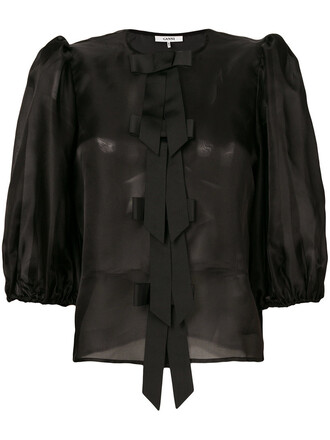 top ruffle women black silk