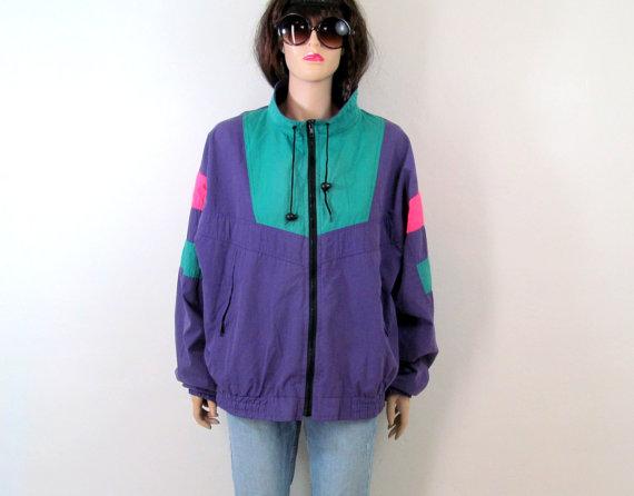 80's Jacket XL Vintage Neon Jacket XL Puffy Jacket Bomber jacket ...