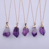 jewels,raw stone,amethyst pendant,amethyst jewelry,purple,gold,necklace