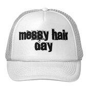 messy hair,messyhair,messy hair hat,trucker hat,white hat,messy bun,hat
