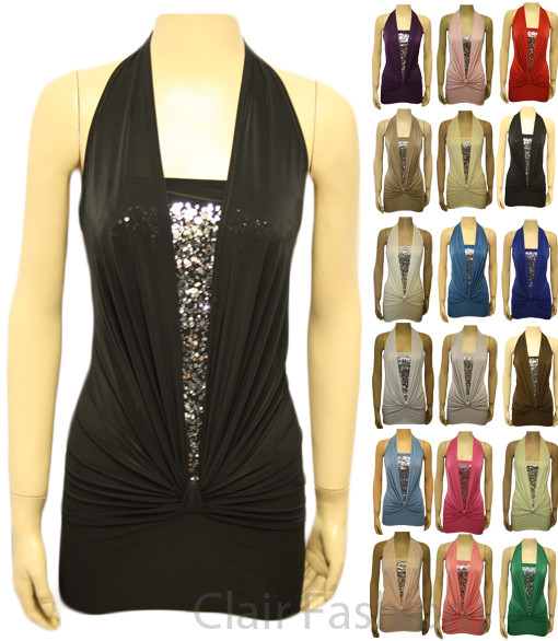 Ladies Sequin Halter Neck Ruched Boob Tube Womens Stretch Sleeveless Top 8 - 16 | Amazing Shoes UK