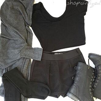 shorts mesh mesh shorts black black shorts black mesh black mesh shorts shoes boots combat boots military boots black boots black combat boots top crop tops black crop top