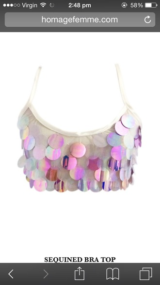 top sequins shiny festival mermaid pink rainbow hippie crop tops bralette tank top white metallic holographic