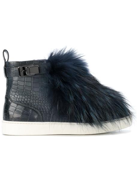 Santoni fur fox women leather print blue top