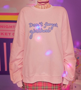 sweater girly pink jumper quote on it