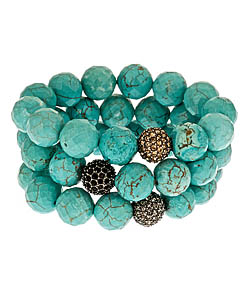Krystal sasso turquoise with crystal ball bracelet set