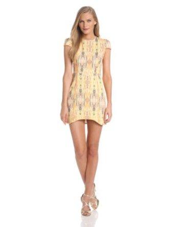 Finderskeepers women's dream people dress ivory, fluorescent ikat/orange fizz, x