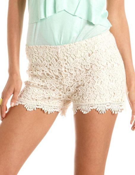 Scalloped Hem Crochet Short Charlotte Russe