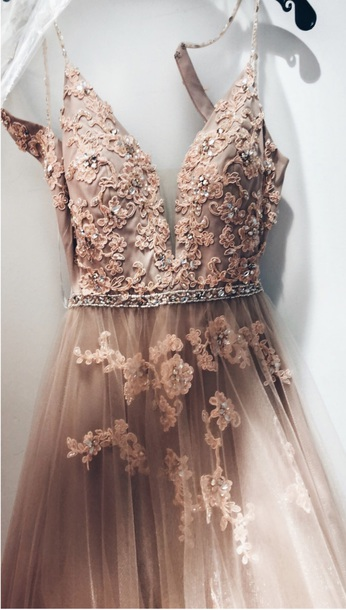 5d2c5ca50 dress prom blush blush pink plunge neckline v neck tulle skirt floral  embellished beaded evening outfits