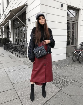 skirt burgundy skirt midi skirt hat boots black boots top turtleneck jacket black jacket bomber jacket button up mini skirt