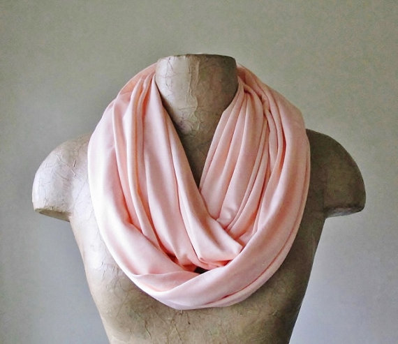PALE CORAL Pink Infinity Scarf  Handmade Circle Scarf  by EcoShag