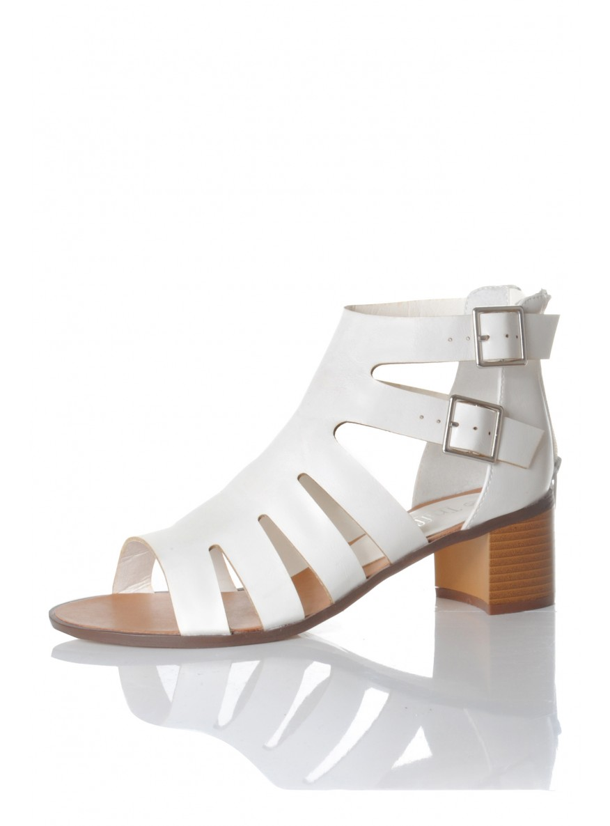 White Cut Out Sandals
