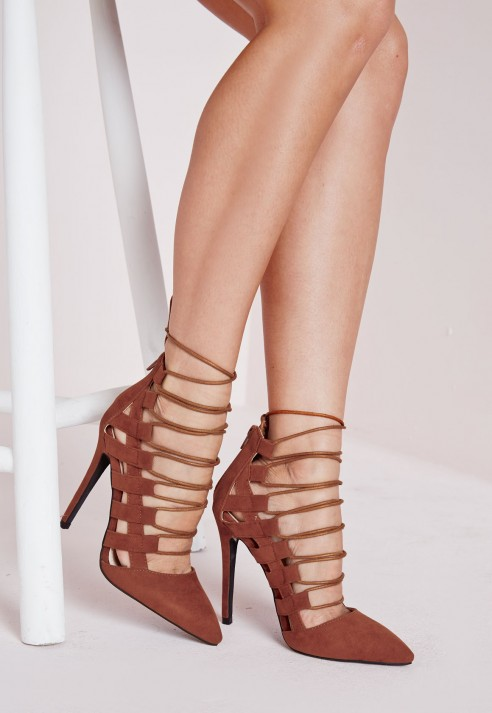 Pointed Toe Lace Up Heels Tan - Shoes