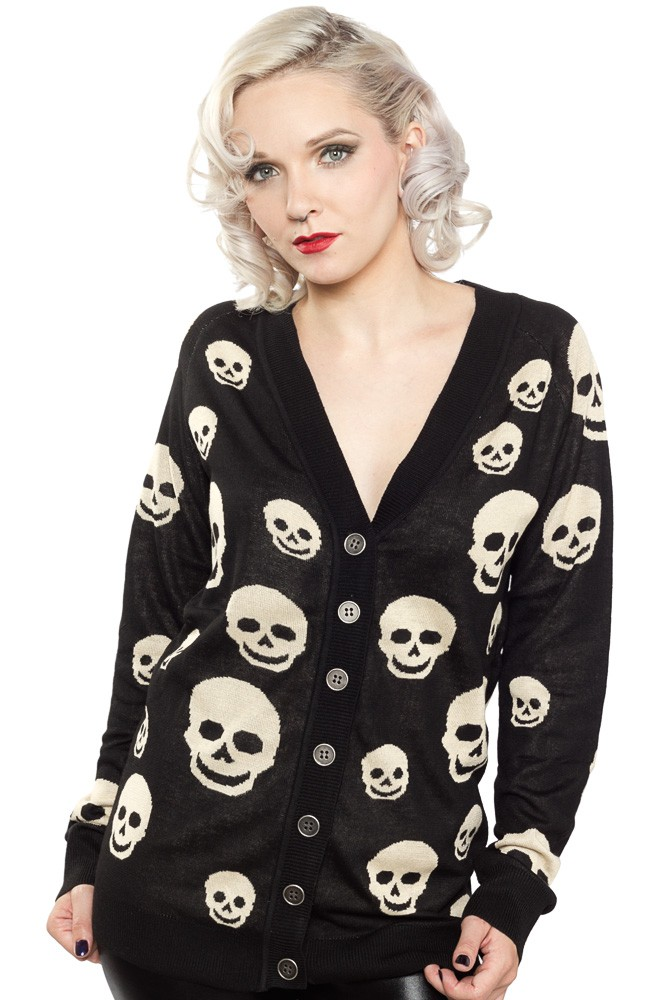 She's deadly skull cardigan blk
