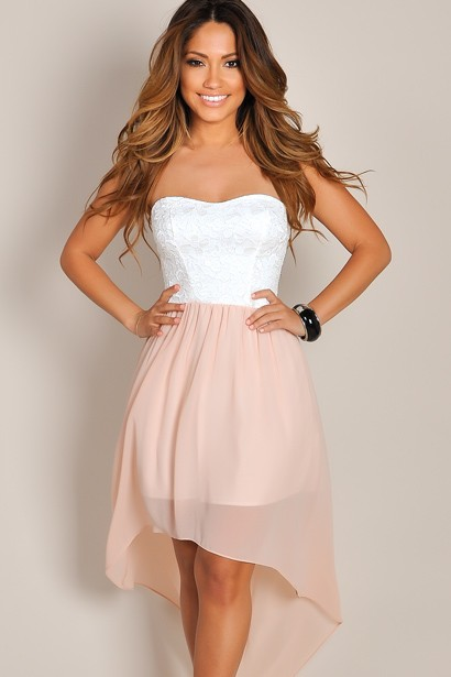 Pink and White Lace High Low Dress