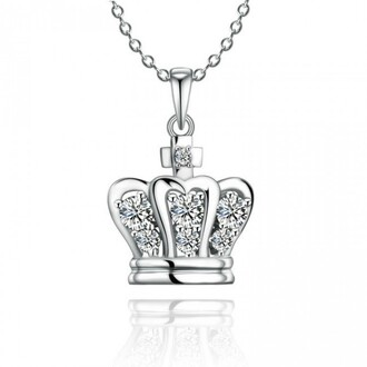 jewels cute crown necklace 925 sterling silver cubic zirconia inlaid noble crown necklace silver necklace silver pendant crown pendant evolees.com