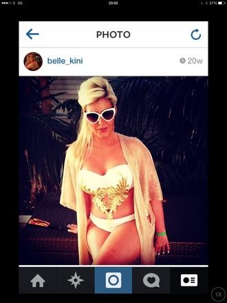 swimwear gold sequins gold bikini white bikini embellished