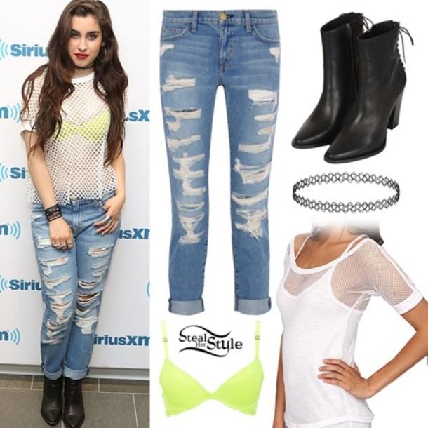 Top Lauren Jauregui Boyfriend Jeans Topshop Edit Tags Pictures