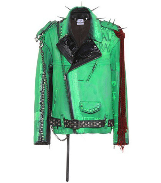 Vetements jacket biker jacket oversized leather green