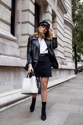 hat black skirt black jacket tumblr fisherman cap skirt mini skirt jacket leather jacket black leather jacket bag