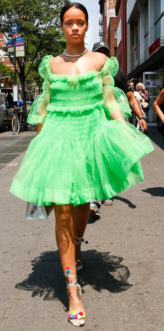 dress ruffle rihanna sandals green green dress choker necklace necklace shoes