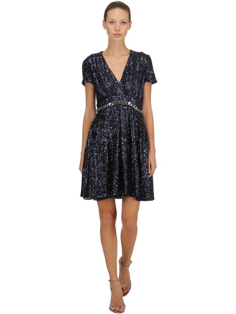 INGIE PARIS Sequins Dress W/ Chain Trim in blue