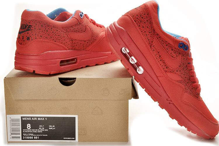 Original womens nike air max 1 running shoes safari red royal red 319986 661 online sale