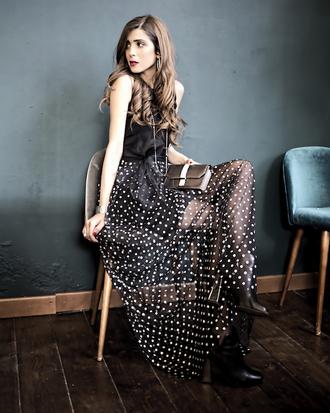 cosamimetto blogger dress bag shoes jewels maxi dress polka dots polka dots dress ankle boots