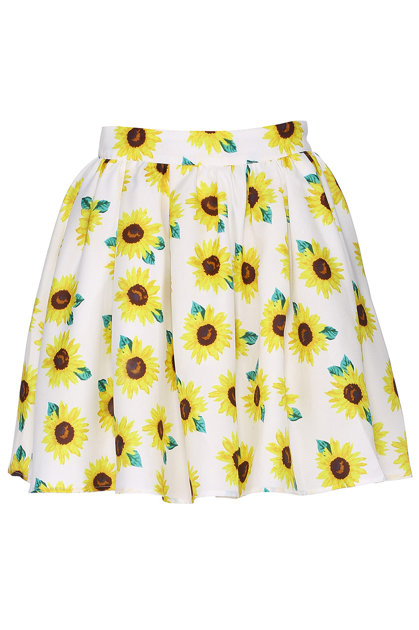 ROMWE | ROMWE Sunflower Print High Waist Light Apricot Skirt, The Latest Street Fashion