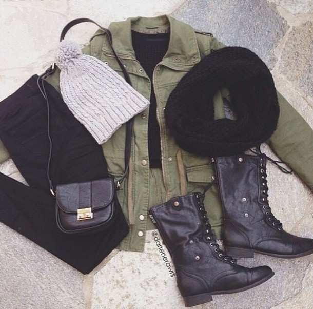 jacket army green color coat green jacket boots dark grunge hat jeans scarf shoes