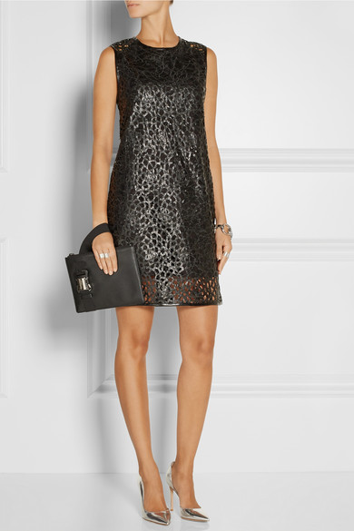 Karl Lagerfeld | Resi embroidered faux leather mini dress | NET-A-PORTER.COM