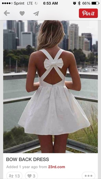 dress white dress bow bow back dress white short dress