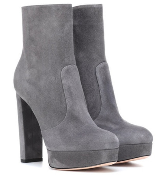 Gianvito Rossi Brook plateau suede ankle boots in grey