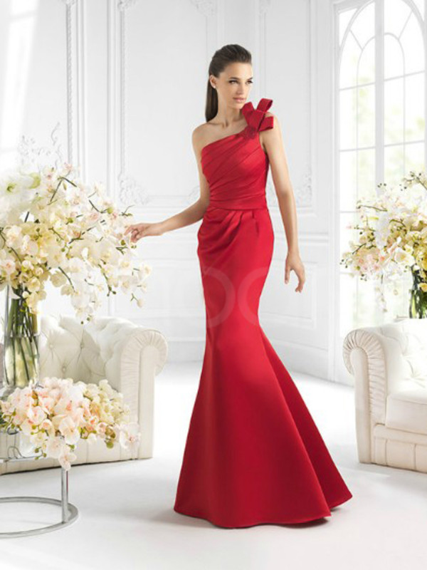 dress red sleeveless dress for prom and evening party one-shoulder neckline and natural waistline sweep train dresses