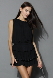 top,loving ruffles top and skirt set in black,summer,black,ruffle,chicwish