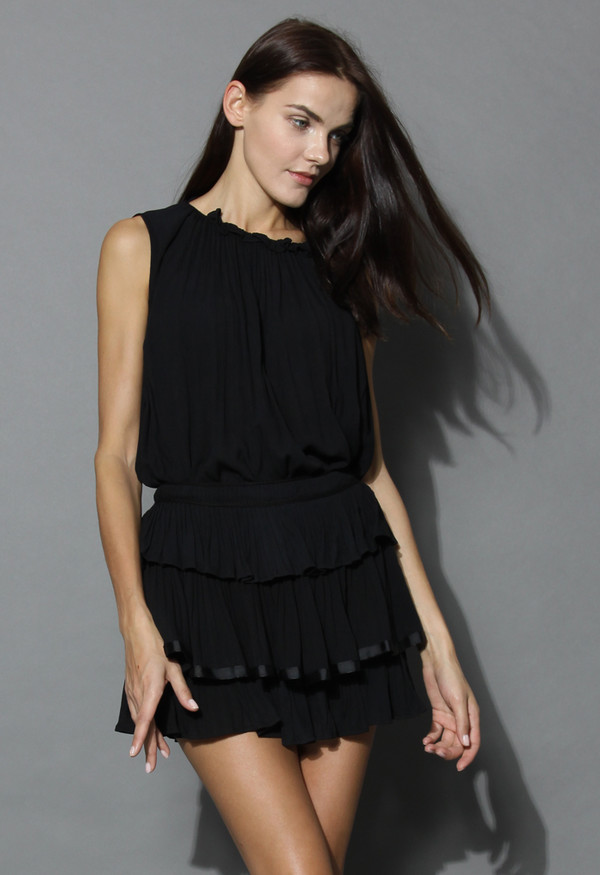 top loving ruffles top and skirt set in black summer black ruffle chicwish