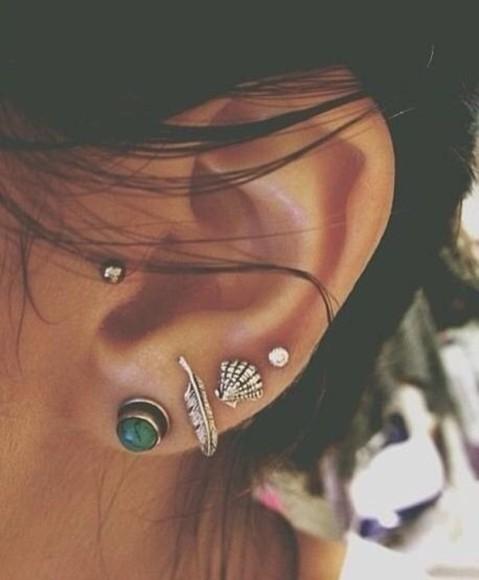 jewels earrings ear piercings ears feathers pearl silver blue earrings shell piercings earring stud