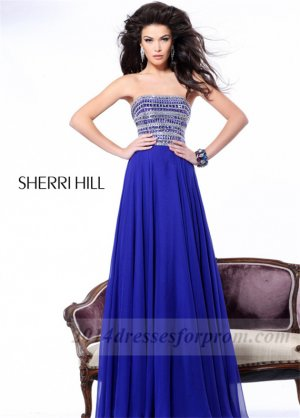 Blue Beaded Top Long Prom Dresses Sherri Hill 1539 [long blue prom dresses] - $165.00 : Cheap Sequin Prom Dresses2014,Online Tailored Prom Dresses Shop,Homecoming Dresses Cheap
