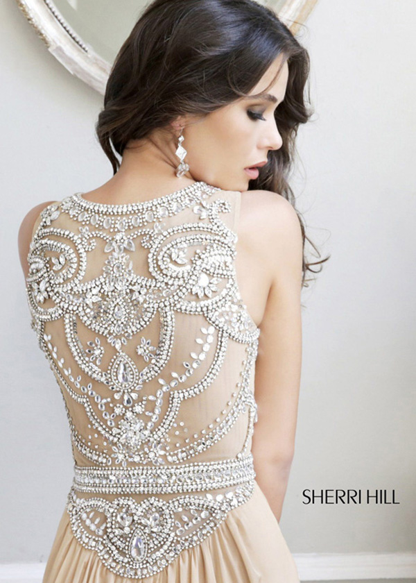 Nude silver sherri hill 11069 beaded chiffon long prom dress [nude silver sherri hill 11069]