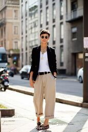 shoes,printed slippers,slippers,slip on shoes,pants,nude pants,cropped pants,top,white top,black blazer,blazer,belt,sunglasses,round sunglasses,spring outfits,office outfits,work outfits,streetstyle